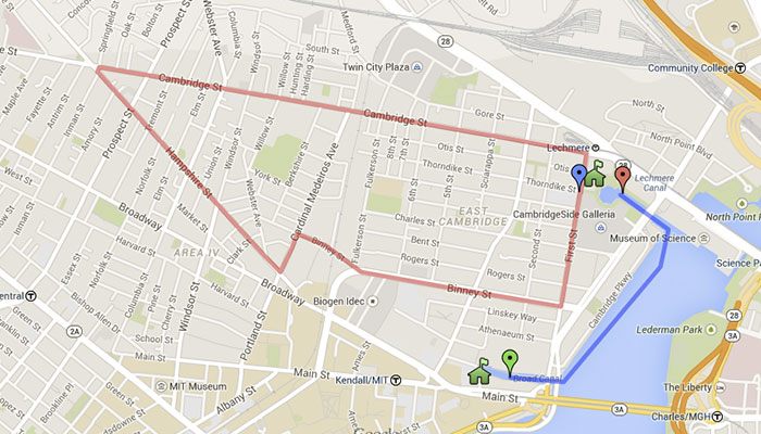 Freedom Run goes through Inman Square and the heart of East Cambridge! [USATF map]