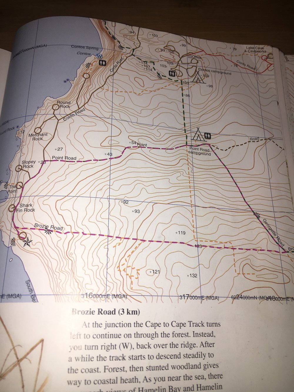 This is a picture of map #16 straight out of   Walking Round in Circles   by Jane Scott and Pat Negus, a wonderful collection of 27 circular walks in the  Leeuwin-Naturaliste National Park .