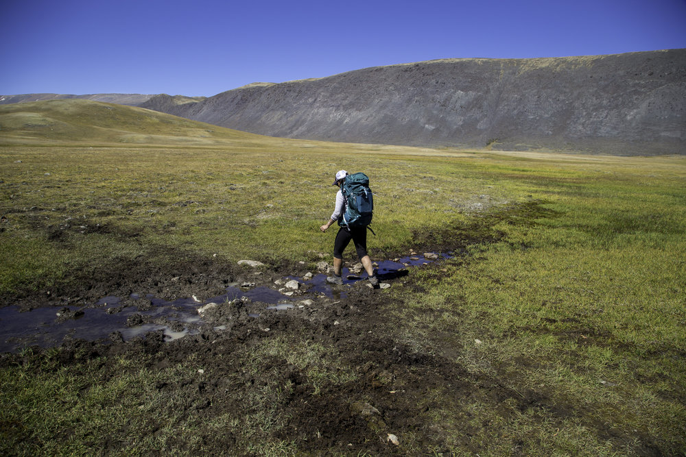 Plenty of boggy ground to manoeuvre on the way to the base camp - Tavan Bogd National Park, Mongolia