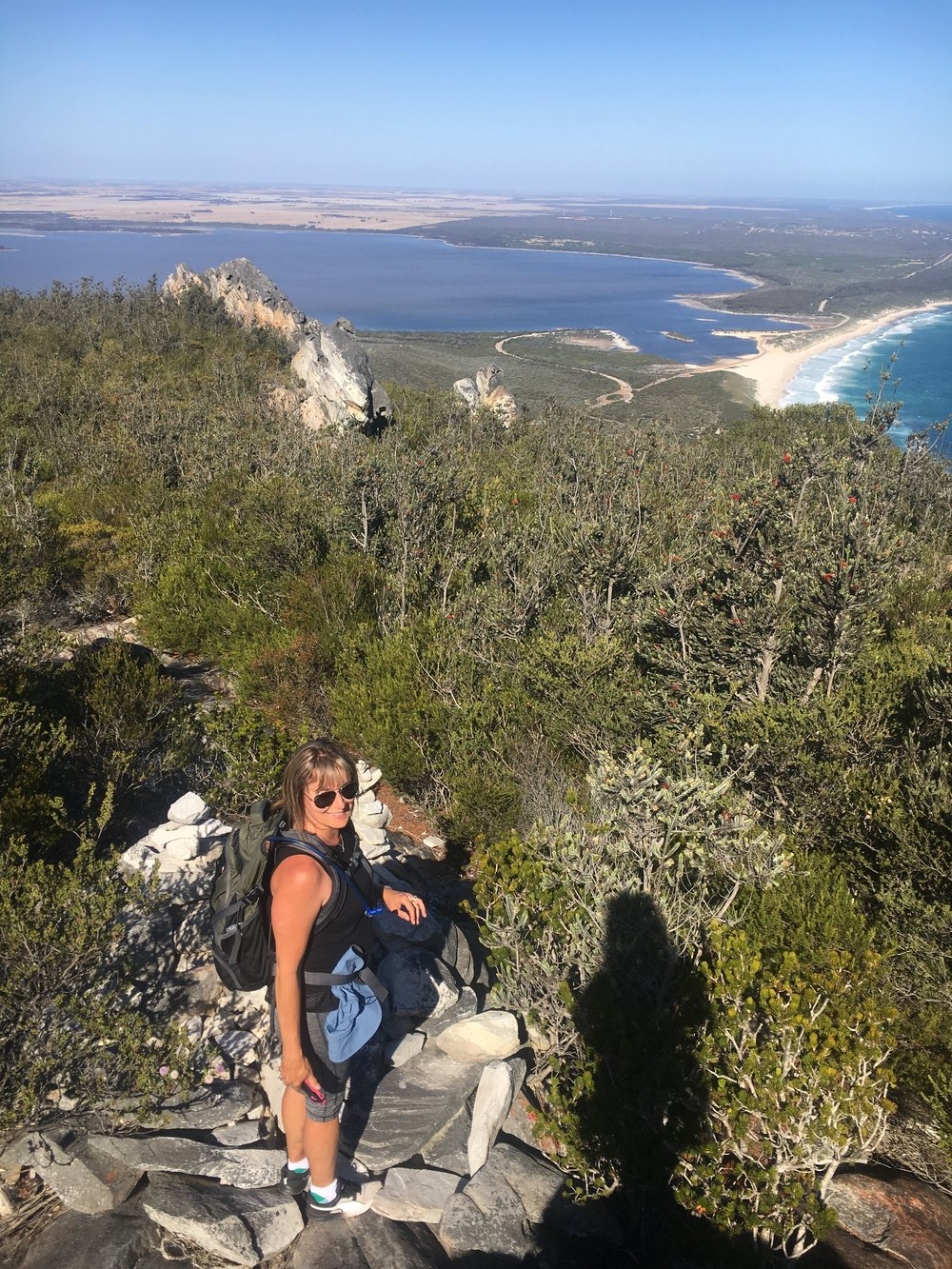 Sharon, who also became a friend after walking on the  Cape to Cape  with Edgewalkers, is enjoying the view east towards the Culham Inlet near Hopetoun.