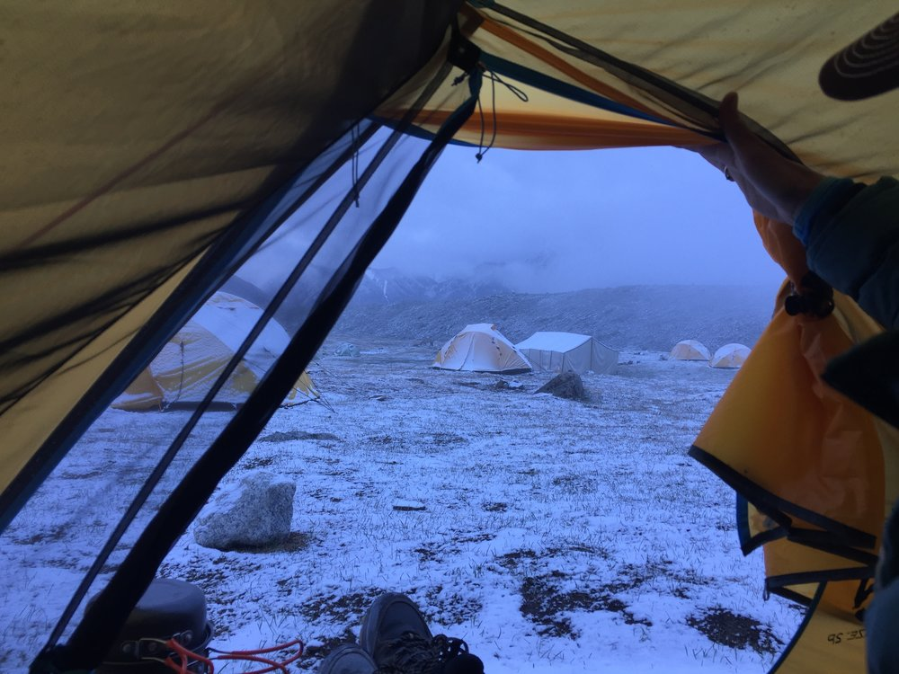A cold and snowy morning at Tavan Bogd National Park base camp