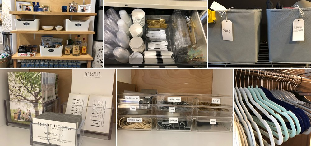 After photos of her snack area, cabinet drawer, shooting area, and production area cubbies