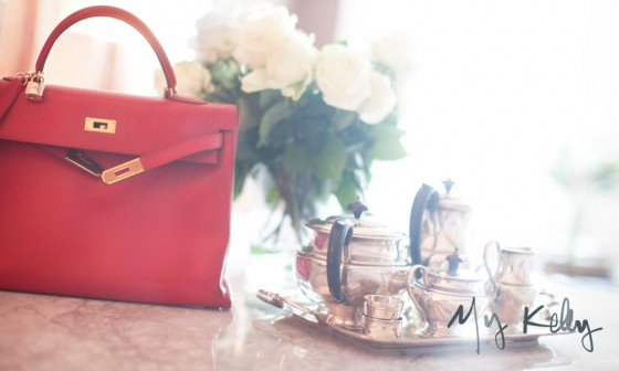 "Beauty shot by Garance of her own Hermes Kelly in ""Rouge Garance."" Fitting, non?"