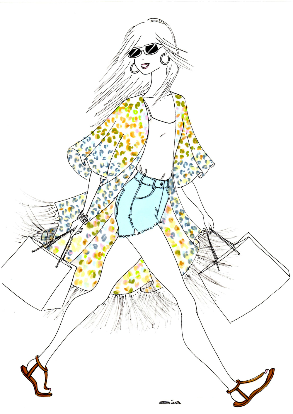 "Illustration inspired by Athena's stunning, ""Dancing In Rio,"" silk kimono..."