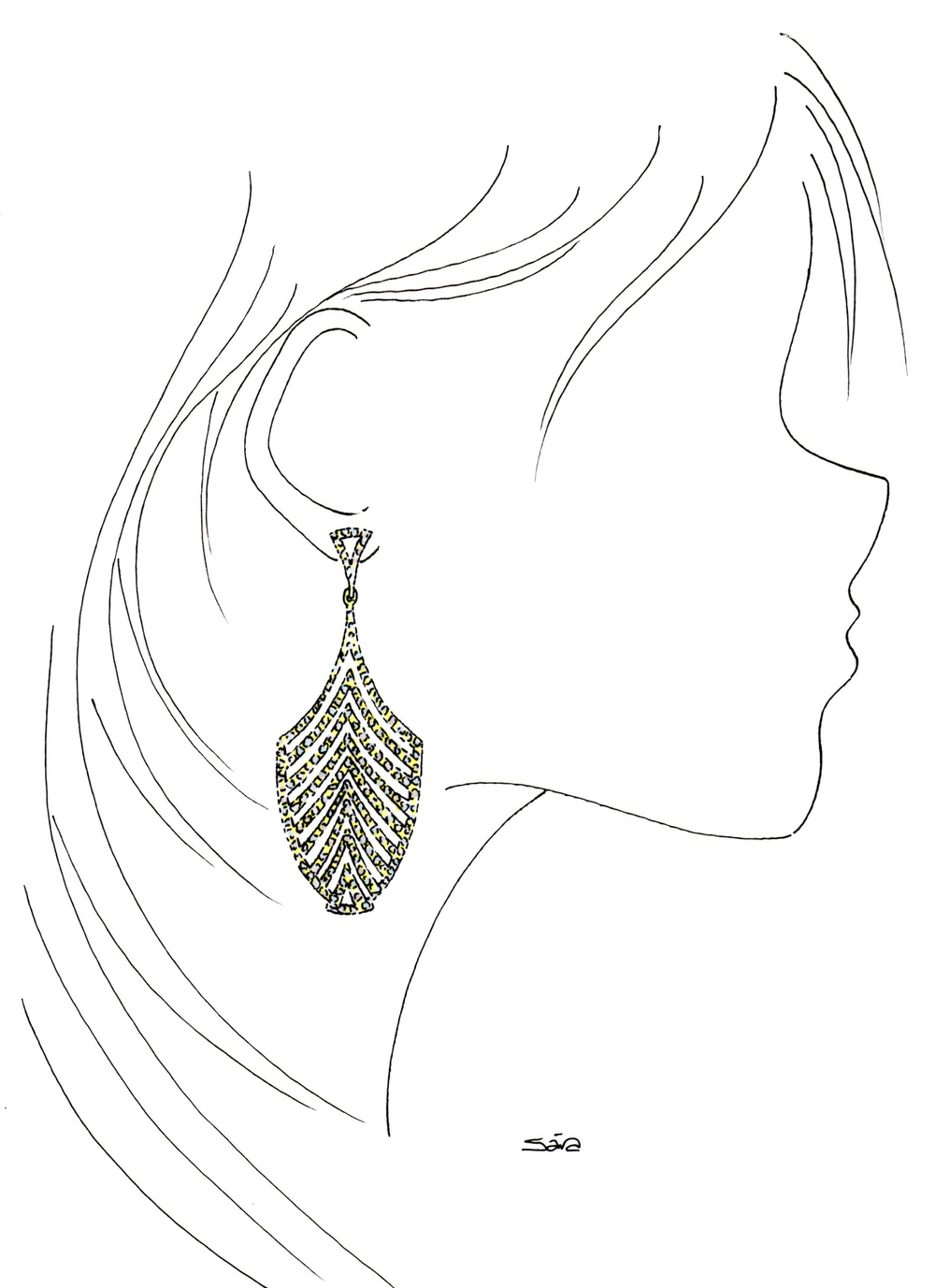 Illustration inspired by Ileana's Deco Escape Earrings