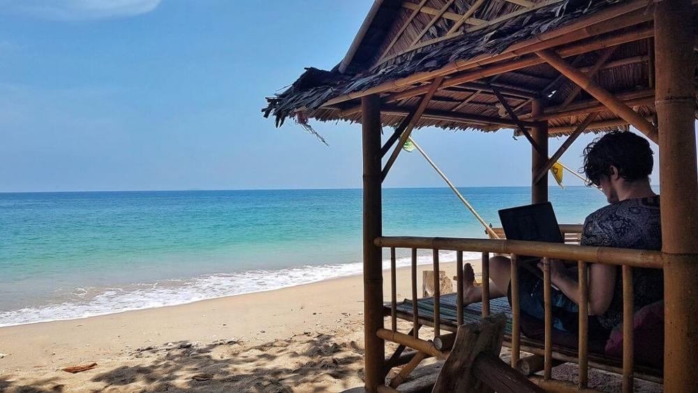 My little beach office in Koh Lanta - where I stayed for only 7$ per night.