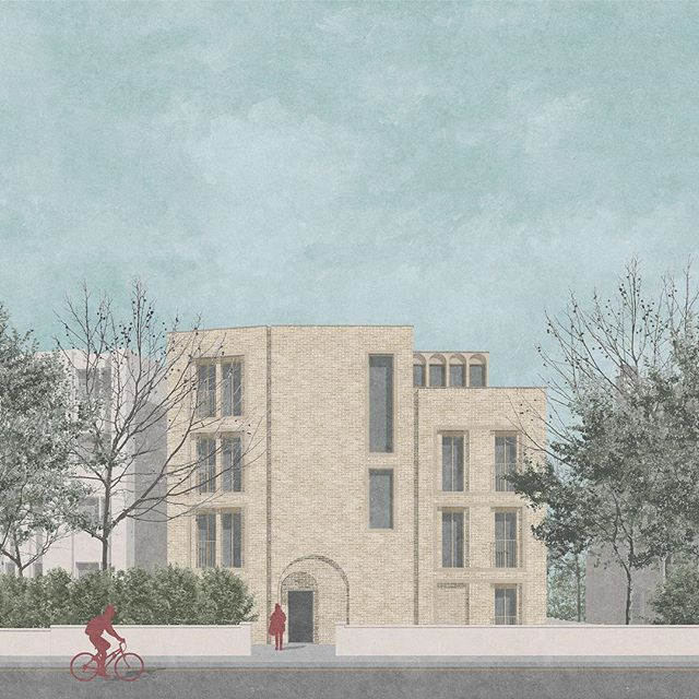 Proposal for a small mansion block in SW London to provide 5 new homes in place of a run-down bungalow. Arches reference the neighbouring Georgian building. . . . . . . #londonarchitecture #londonarchitects #architecture #brick #arch #densification #smallsites #streetscene #architecturalvisualization #housing #homes #greygriffithsarchitects #thebna