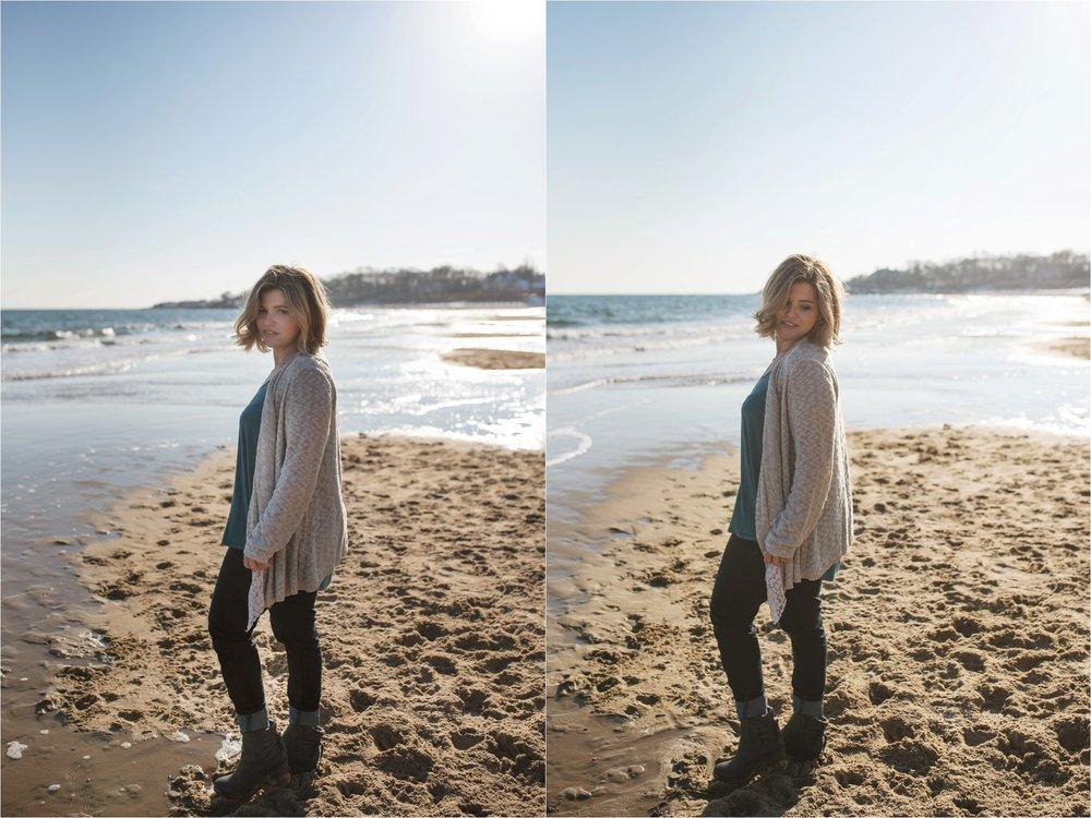 women posing at the beach