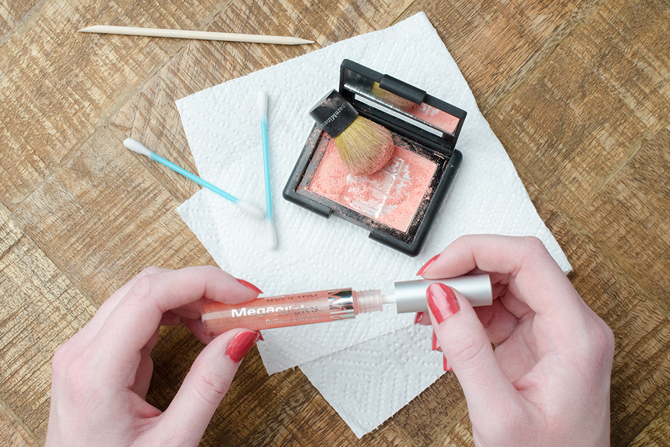 Mix your leftover blush with a little clear lipgloss and enjoy a shimmering hint of a favorite hue on your lips.