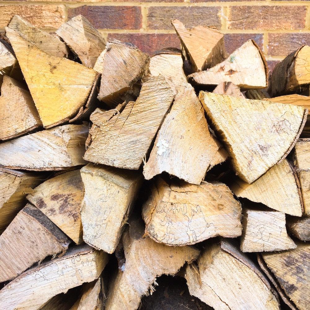 The studio log pile. Autumn 2016. Photo by Nina Parker