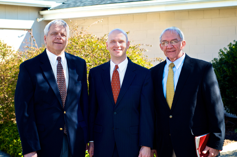 Three pastors of CRPC - Pete Hurst (1985-2012), Jeff Ferguson (2013-present), and Dave Kiewiet (1973-1984)