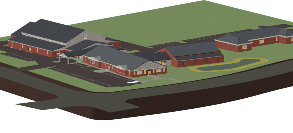 Conceptual rendering of long-range facility improvements including the multipurpose building and auditorium expansion.
