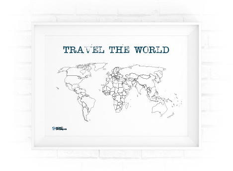 world map in picture frame