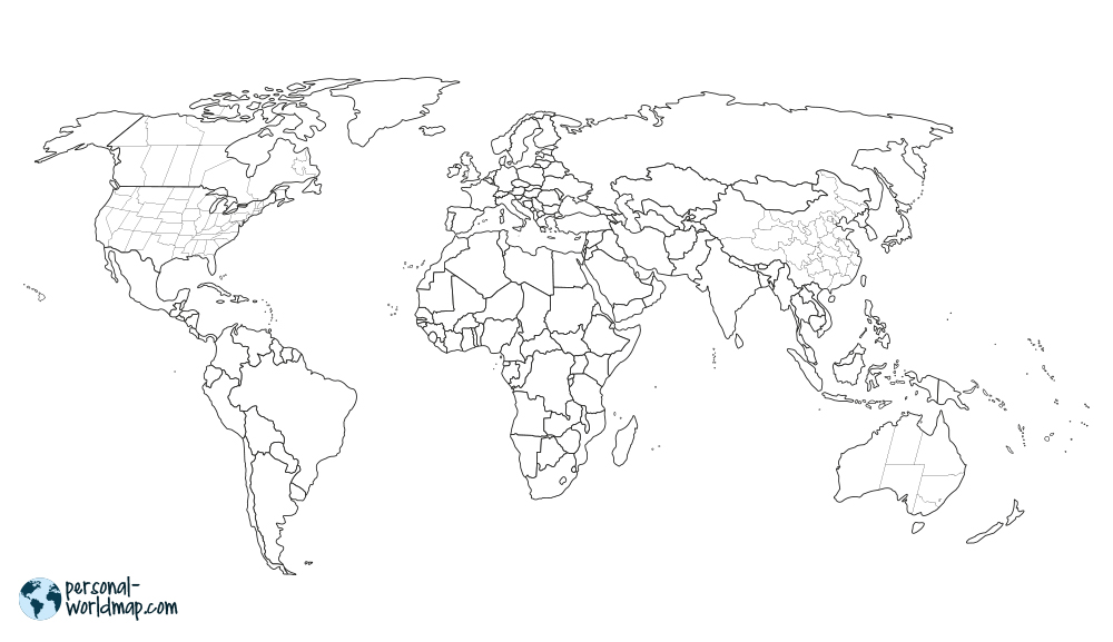 WORLD MAP: BORDERS+STATES For Large Countries, This World Map Also Separtes  The