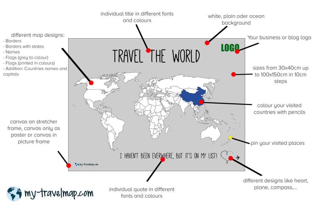 My travel map visited countries map travel map highlight and travel map gumiabroncs Choice Image