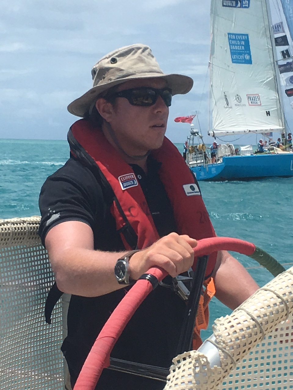 Matt on the helm - parade of sails