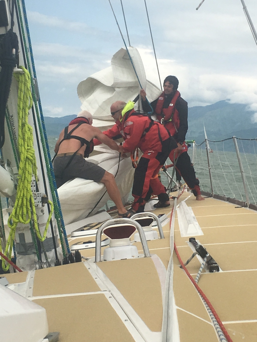 Dropping staysail for final approach to DaNang