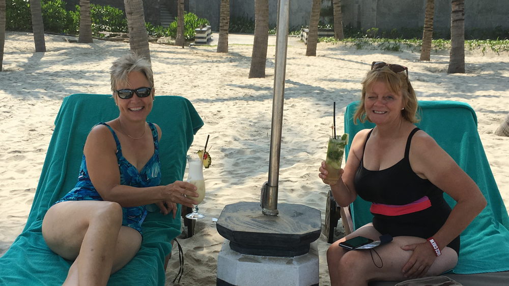 Lynn and Judith at the beach in DaNang