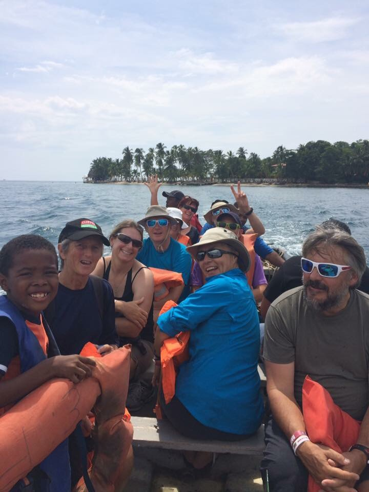 We piled into a motor launch to get to Isla Grande for some lunch. Photo credit: Sean Lee