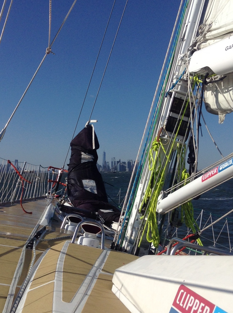 Staysail yanked but bagged, prepped for arrival NYC