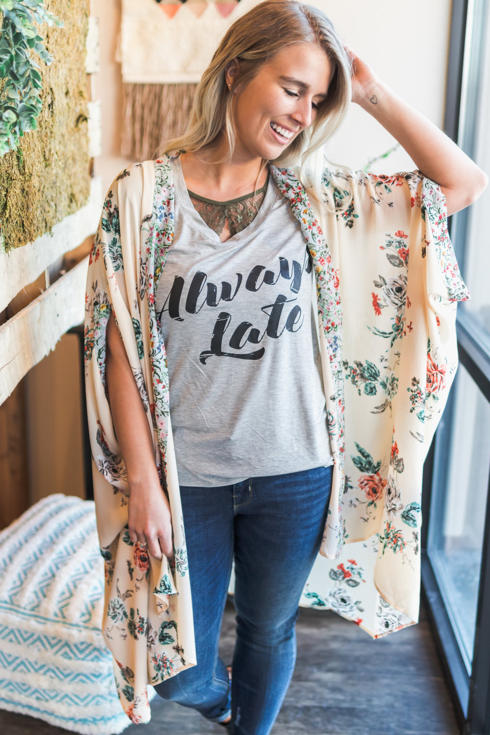 Our  Garden Delight Kimono  is a favorite because it's longer and more feminine.