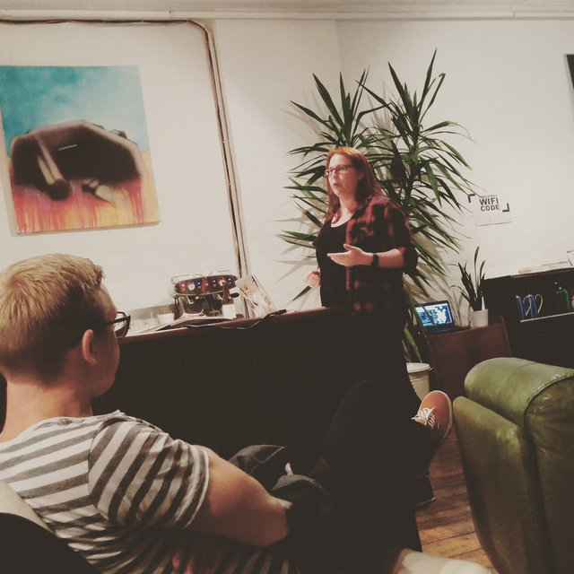 "This is me doing my first talk, titled ""Freelancers, do these don'ts!"" at the Freelancing in Vienna Meetup on 21/09/2015. © Floor Drees"