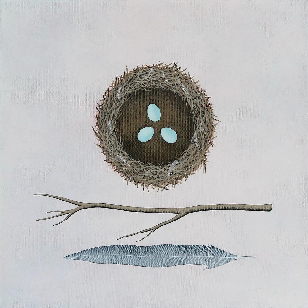 """Building A Nest 1. Acrylic on canvas. 16x16"""" / 40x40cm © Natasha Newton 2016"""