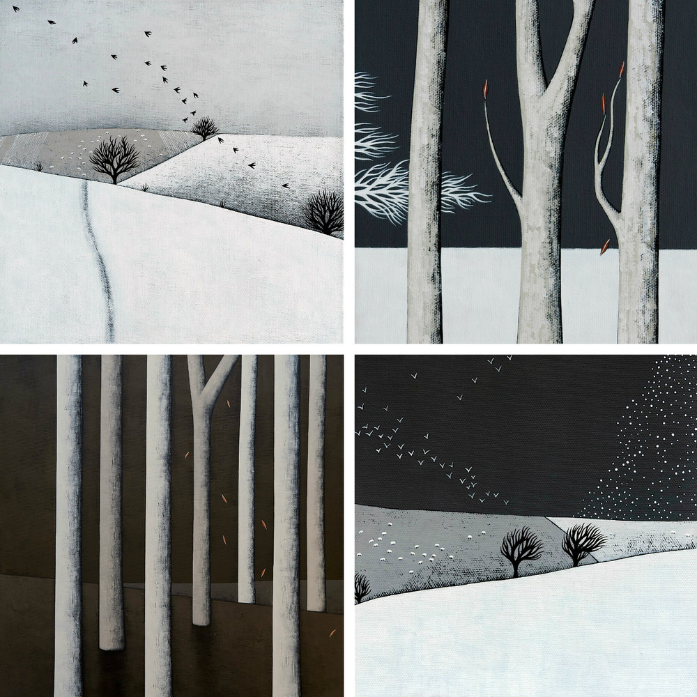 Clockwise from top left: Snowy Landscape with Sheep and Birds; Midnight Walk 4; Snow Storm Coming; In The Dark Forest. All acrylic on canvas, various sizes. The first three are at VK Gallery in Cambridgeshire, and the dark forest is a commissioned painting. All of these were created during early January 2017.