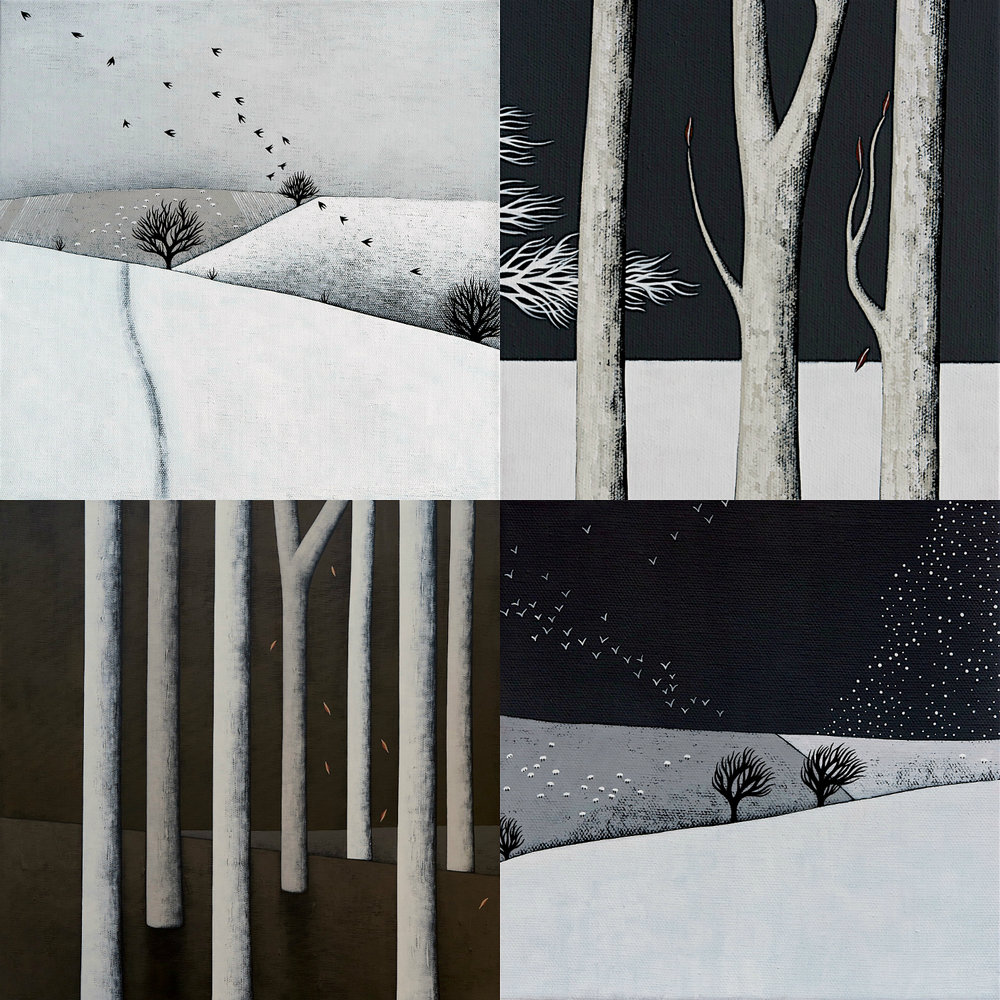 Clockwise from top left: Snowy Landscape with Sheep and Birds; Midnight Walk 4; Snow Storm Coming; In The Dark Forest. Acrylic on canvas, various sizes. All of these were created during early January 2017.