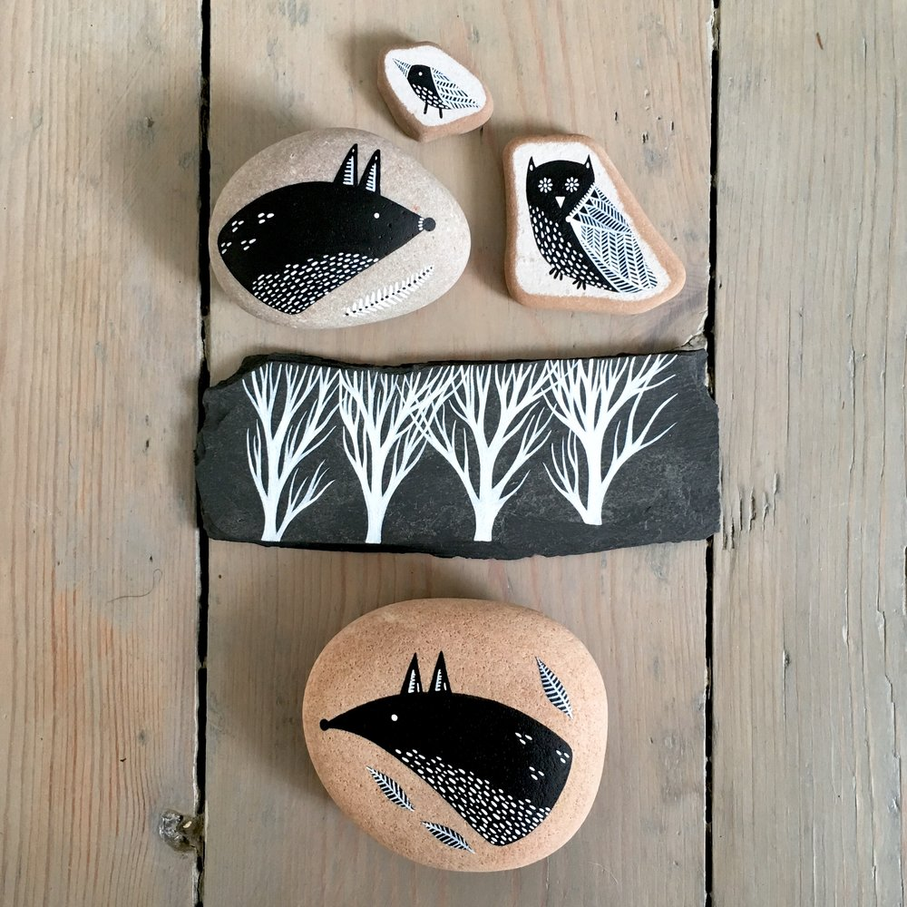 Painted Slate, Stones & Beach Pottery