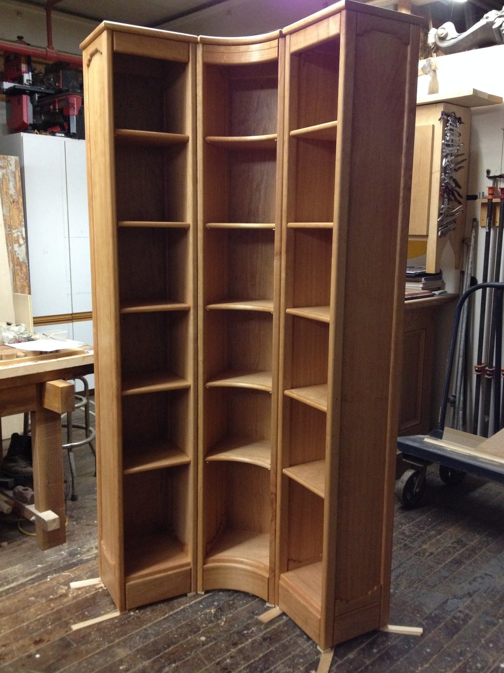 Custom cherry bookcase for small space