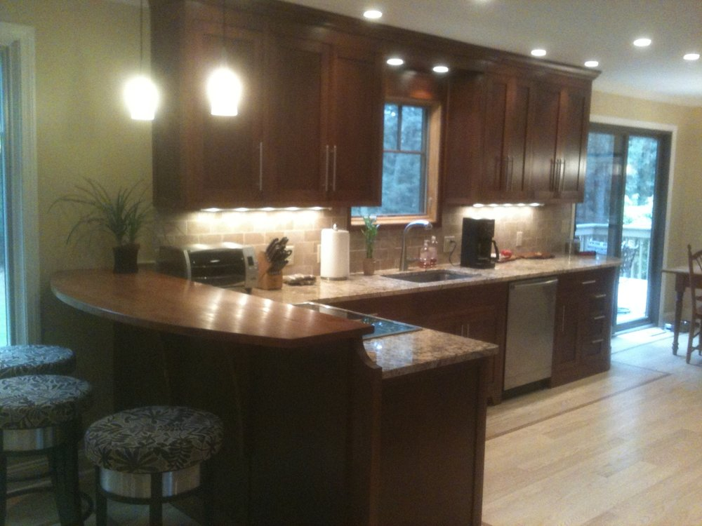cherry stained custom kitchen