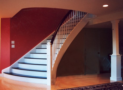 custom built curved staircase