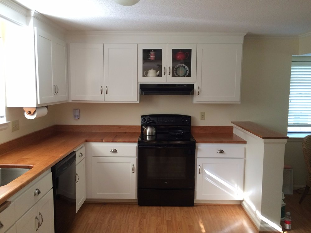 painted kitchen and cherry wood counter top