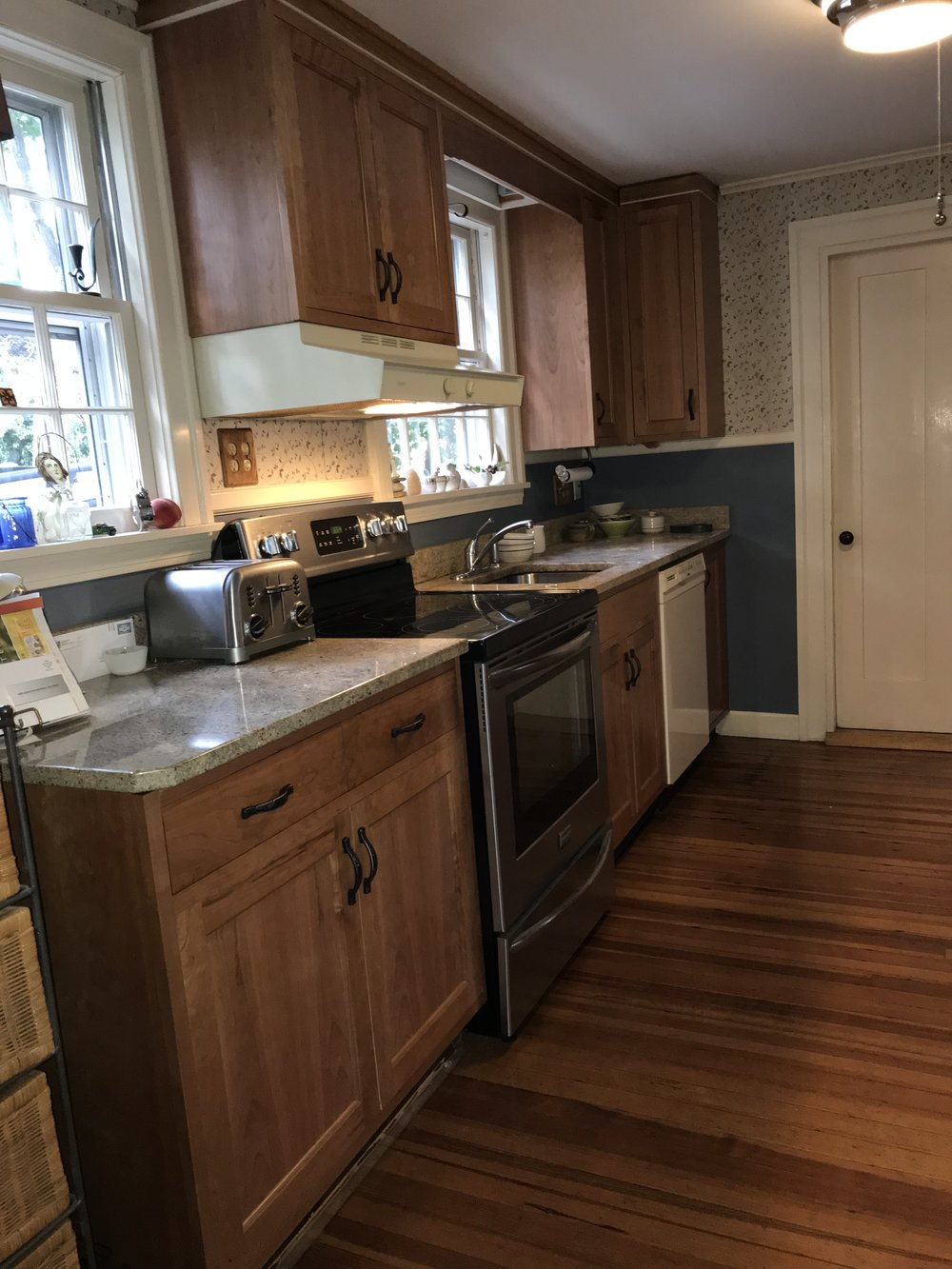 refaced kitchen cabinets with cherry wood
