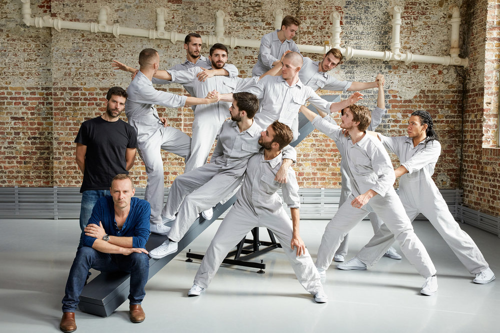 Michael Nunn and William Trevitt with their company, Balletboyz. Portrait commissioned by The Times as they show their new piece, Fourteen Days, at Sadler's Wells.