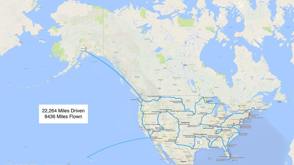 The route for Dance Across the USA