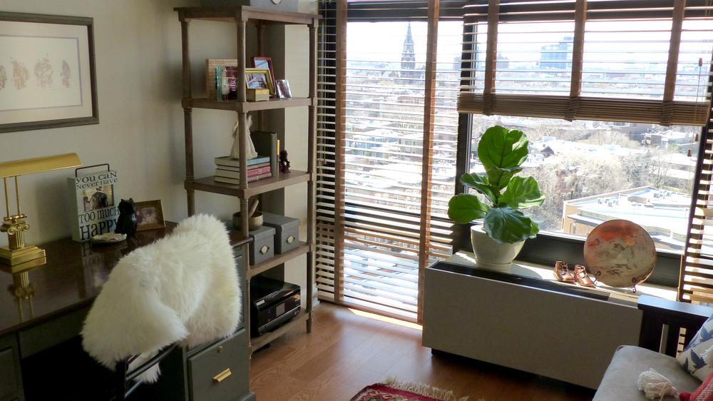 Bookshelf - Target ;  Sheepskin - Ikea ;  Storage boxes on bookshelf - Ikea