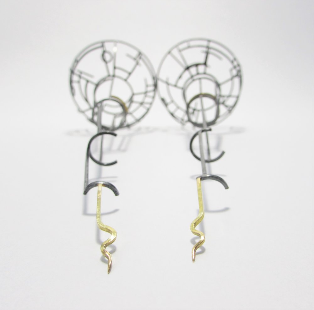 """Ear Antennas"" sterling silver, gold. 2016"