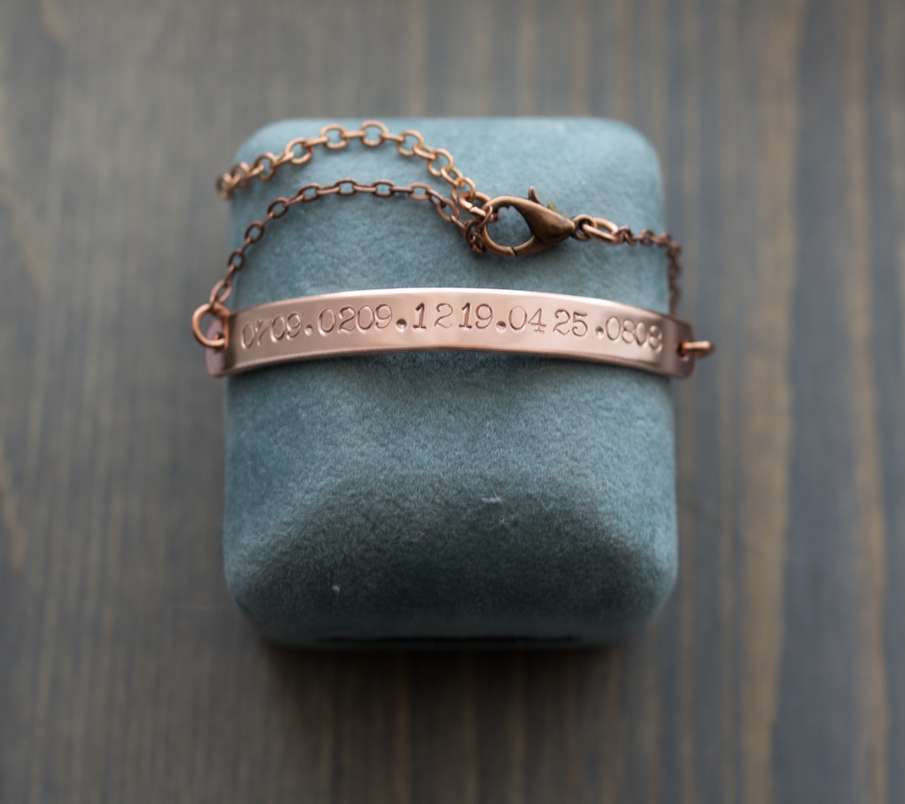 Custom date stamped bracelet