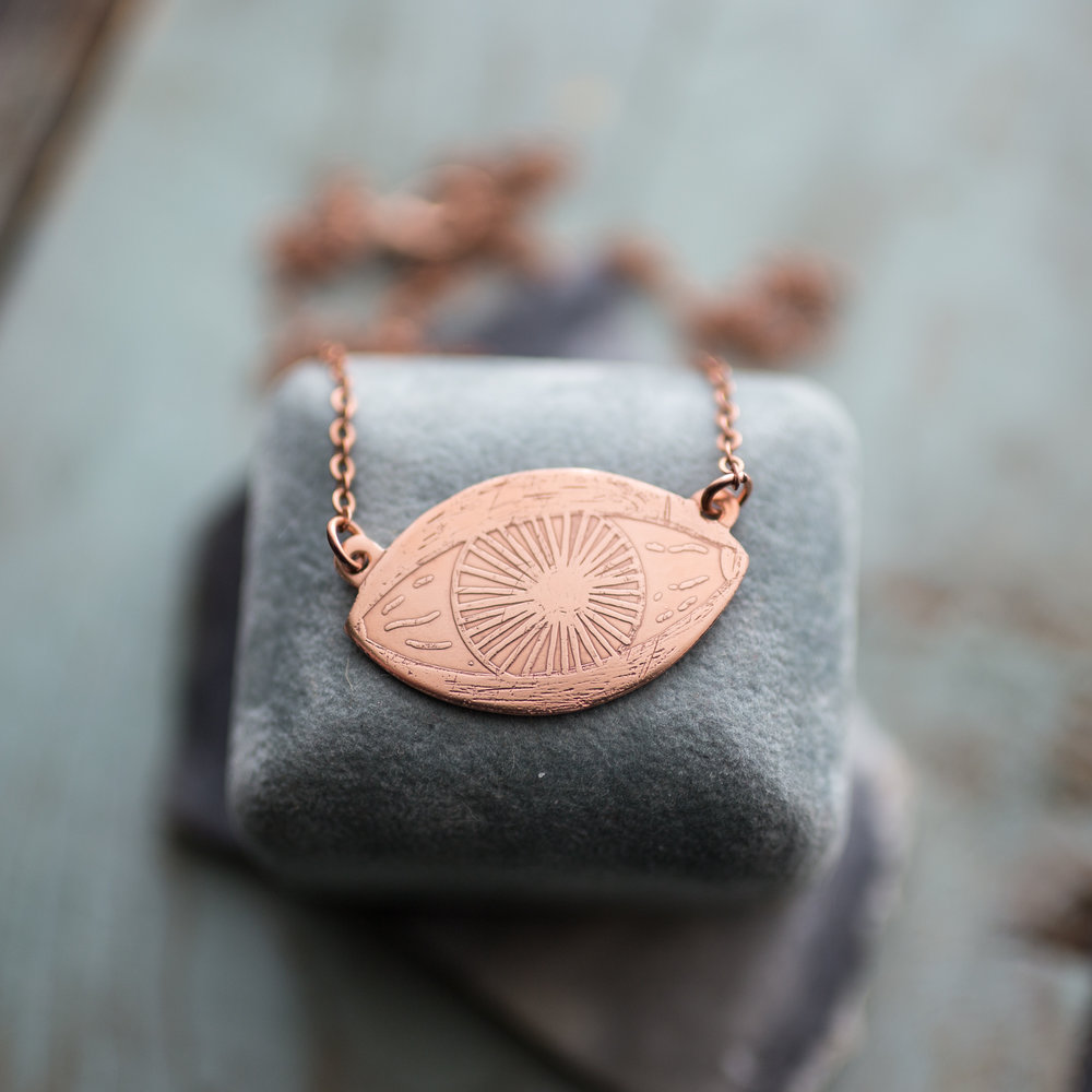 Etched Eye Necklace