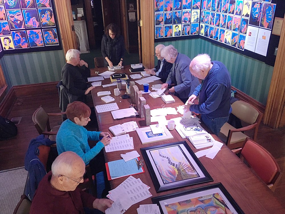 Members of the museum leadership team prepare thousands of annual donation cards and reservation information to be mailed out for the upcoming December 9th Nobel Peace Prize Luncheon. Please send in your annual gift, join us at the luncheon and consider becoming a sustaining member of the Museum. You can send in your card or click below to support  America's Peace Museum .