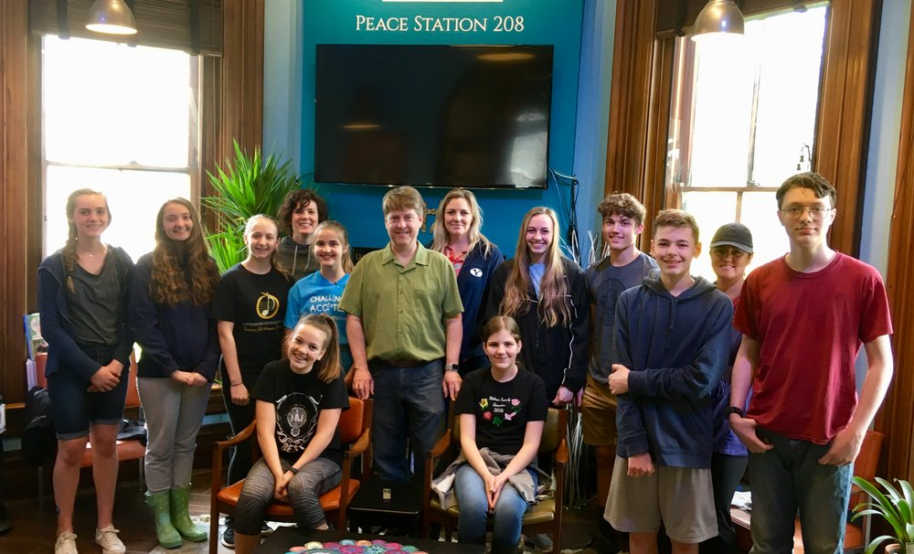 Global Youth Day!  The Museum received the help from over a dozen area teens who learned about the Museum and gave every window and staircase a thorough cleaning.  The Museum has been in need of a good Spring cleaning after our long Winter! Thanks for the help!