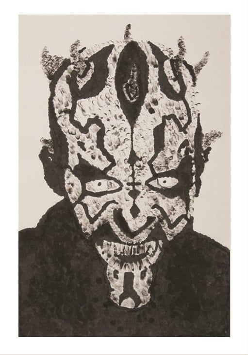 Darth Maul using only my index finger print and India Ink.