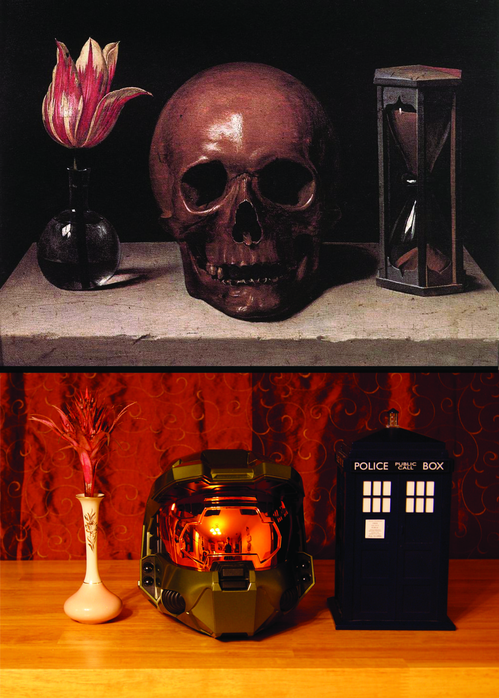Recreating the Vanitas Still Life by Phillippe de Champaign with modern objects was a fun idea.