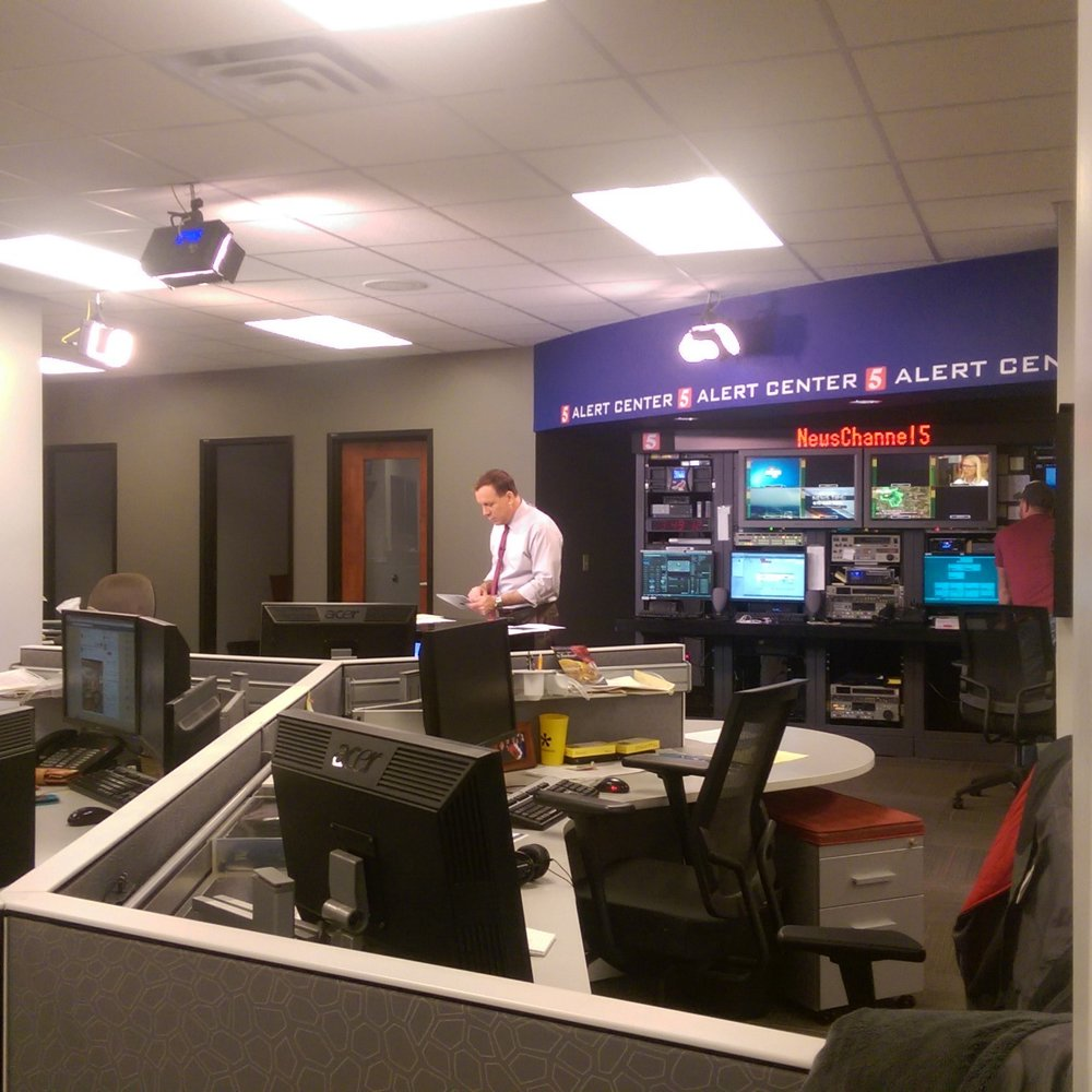 Breaking news is broadcasted from the Alert Center which is smaller studio in the midst of the workstations.