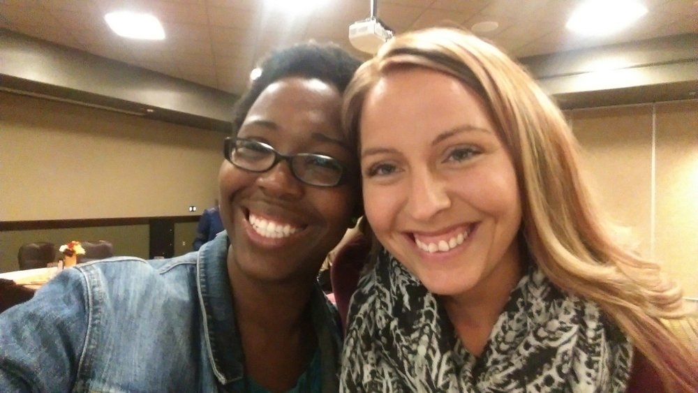 Waiting for the keynote, Carlisha Williams, with Forest Rose from Kingdom First Homeschool