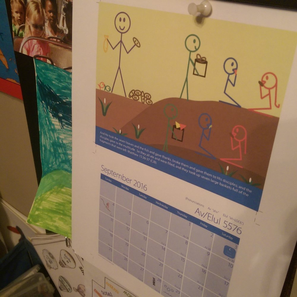 Grapevine Studies calendar helps to keep us on track with Biblical events.