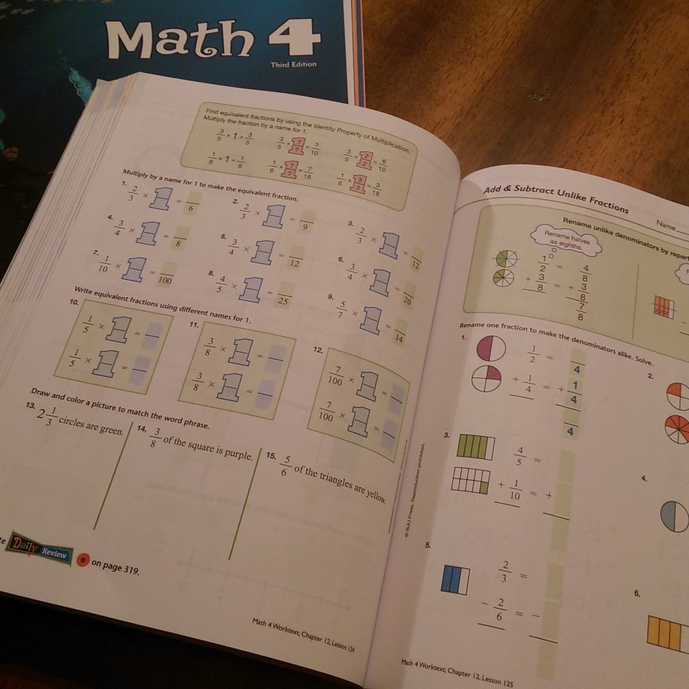 Another peek inside the student book for BJU Press Math 4
