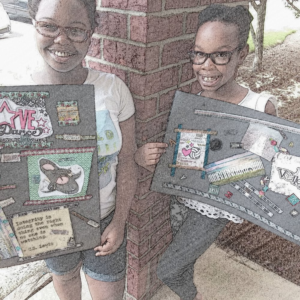 My girls and their vision boards. I decided to play with my filters today!